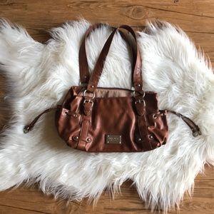 Nine West brown leather shoulder slide close side